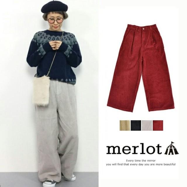 merlot(メルロー)の秋冬新作*◌⑅⃝♡*メルロー コーデュロイワイドパンツ グレー レディースのパンツ(カジュアルパンツ)の商品写真