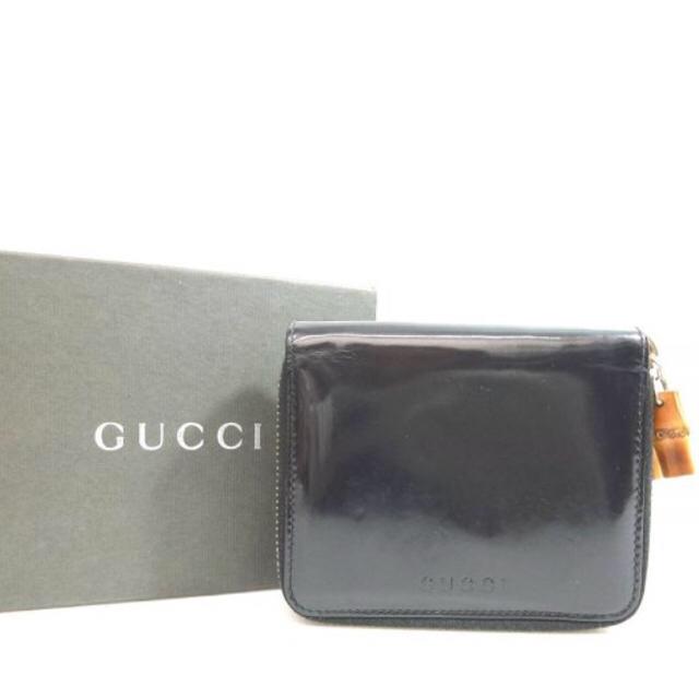 31214e4f08da Gucci(グッチ)のGUCCI グッチ バンブー エナメル ラウンドジップ 二つ折り財布 黒 メンズ