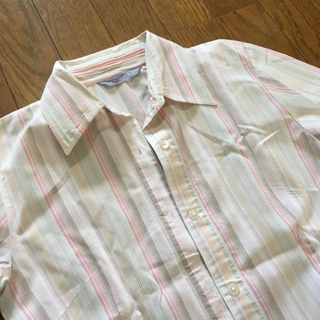 7分丈 シャツ ピンクストライプ レディースのトップス(シャツ/ブラウス(長袖/七分))の商品写真
