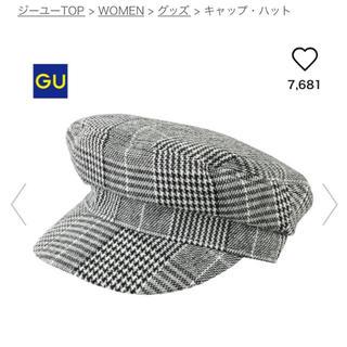 ジーユー(GU)のグレンチェック 帽子 チェック マリンキャップ グレー GU(キャップ)