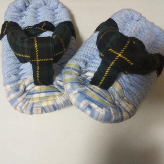 ハンドメイド 布ぞうり ベビー用 サンダル風×ブルー&グリーン ハンドメイドのファッション小物(その他)の商品写真