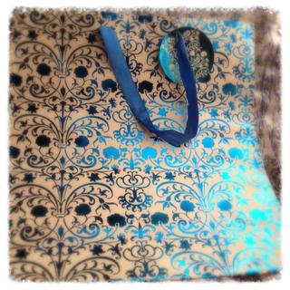 オリエンタル柄 紙袋 ブルー(ショップ袋)