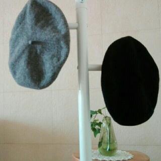 ムジルシリョウヒン(MUJI (無印良品))の無印良品 ベレー帽 黒&グレー2つセット キッズにも(ハンチング/ベレー帽)