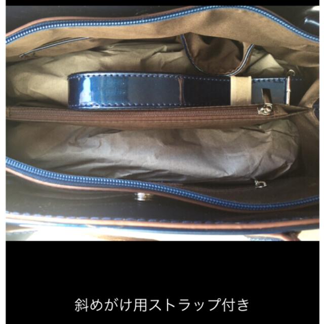 新品未使用❣️ エナメルバッグ ブルー レディースのバッグ(ハンドバッグ)の商品写真