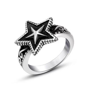 353 チタンステンレス黒墨コーティングスターリング星指輪(リング(指輪))