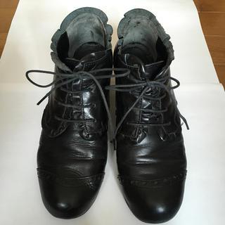 ジェーンマープル(JaneMarple)のJane Marple フリルウイングチップ 黒 中古(ローファー/革靴)