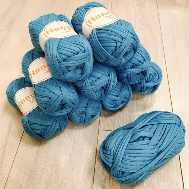 Tシャツヤーン ブルー 1玉  ハンドメイド 手芸 ズパゲッティ 好きへ ハンドメイドの素材/材料(生地/糸)の商品写真