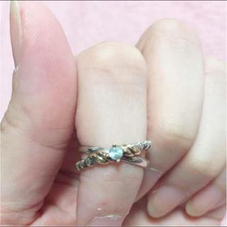 ヨンドシー(4℃)の4℃ k10 &シルバー 2連リング ❤️天然石、ツイスト、(リング(指輪))