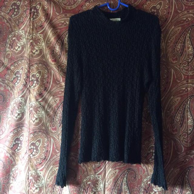 リッチ シャイン ブラック M 花模様編み レディースのトップス(その他)の商品写真