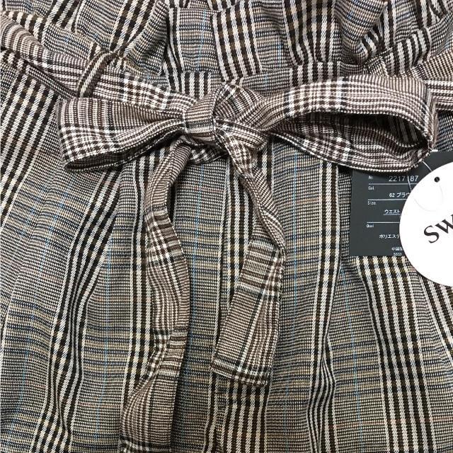 しまむら(シマムラ)の新品 sweet掲載♡ウエストリボン グレンチェック ワイドパンツ Mサイズ レディースのパンツ(カジュアルパンツ)の商品写真