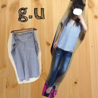 ジーユー(GU)のgu♡ストライプシャツ(シャツ/ブラウス(半袖/袖なし))