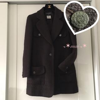 シャネル(CHANEL)のココマークたくさんボタン♥美品 チェスターコート ツイード ロングコート(チェスターコート)