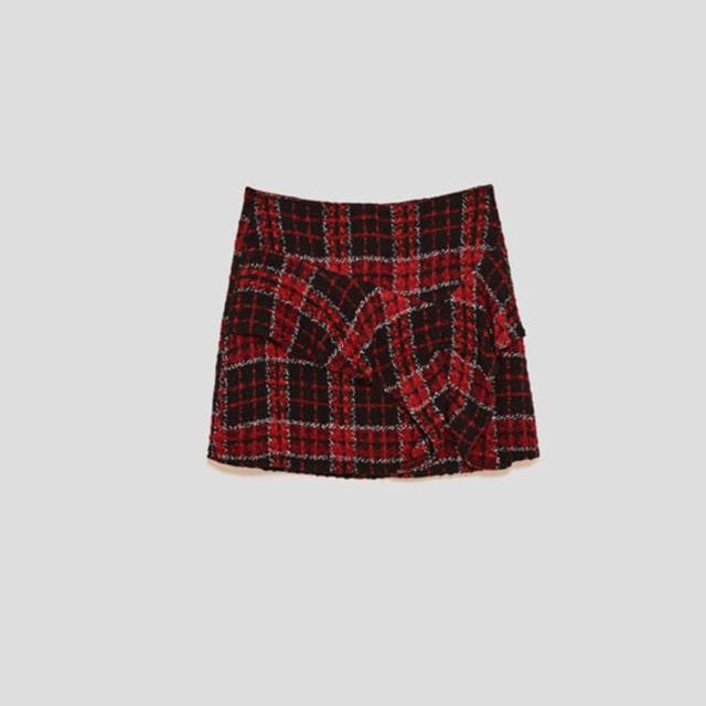 ZARA(ザラ)のZARA 赤 チェック ツイード スカート レディースのスカート(ミニスカート)の商品写真