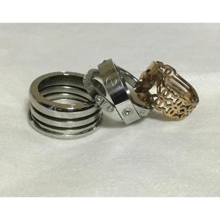 ステンレス ゴールドリングアクセサリー(リング(指輪))