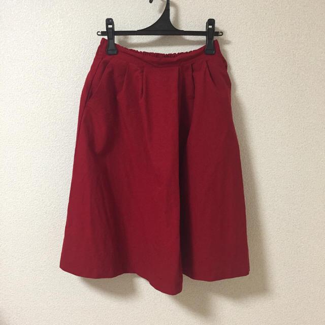 フレアスカート レッド レディースのスカート(ひざ丈スカート)の商品写真