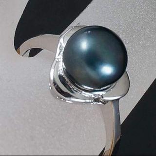 淡水パール リング (指輪)【天然石 淡水パール】カラー:ブラック/サイズ16号(リング(指輪))