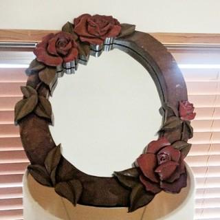 鏡 壁掛け 薔薇 木製 インテリア(壁掛けミラー)
