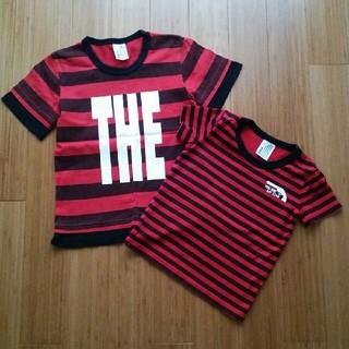 ジーンズベー(jeans-b)の値下げ!赤ボーダーTシャツ 120、90、2枚組(Tシャツ/カットソー)
