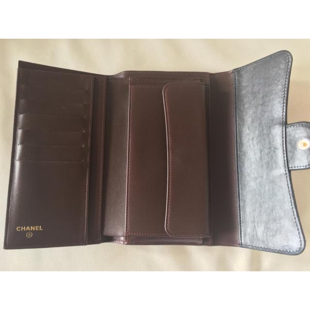 CHANEL(シャネル)のシャネル 長財布 三つ折り マトラッセ ラムスキン 黒×ゴールド レディースのファッション小物(財布)の商品写真
