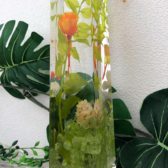 ビタミンカラーの薔薇にグリーンを添えた ハーバリウム ハンドメイドのフラワー/ガーデン(プリザーブドフラワー)の商品写真