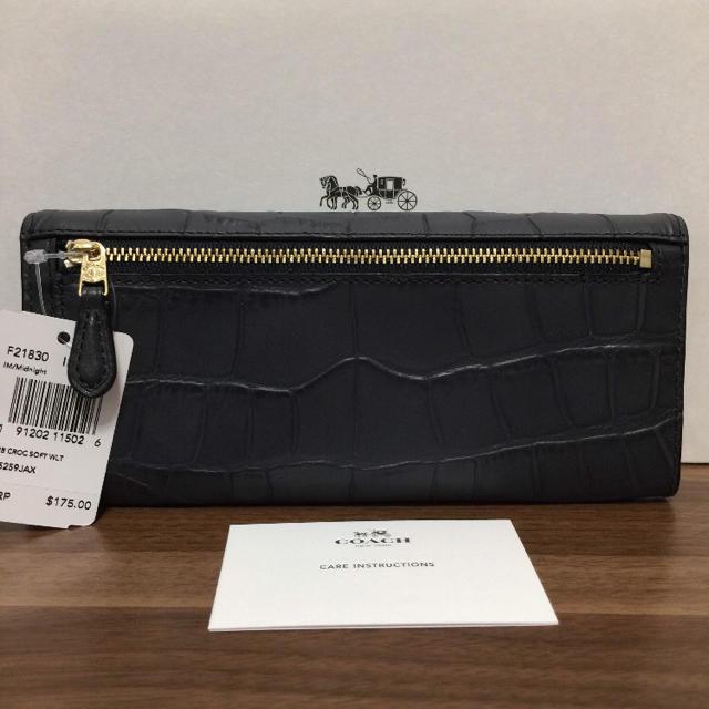 COACH(コーチ)のCOACH コーチ ソフトウォレット クロコダイル ミッドナイトネイビー 長財布 レディースのファッション小物(財布)の商品写真