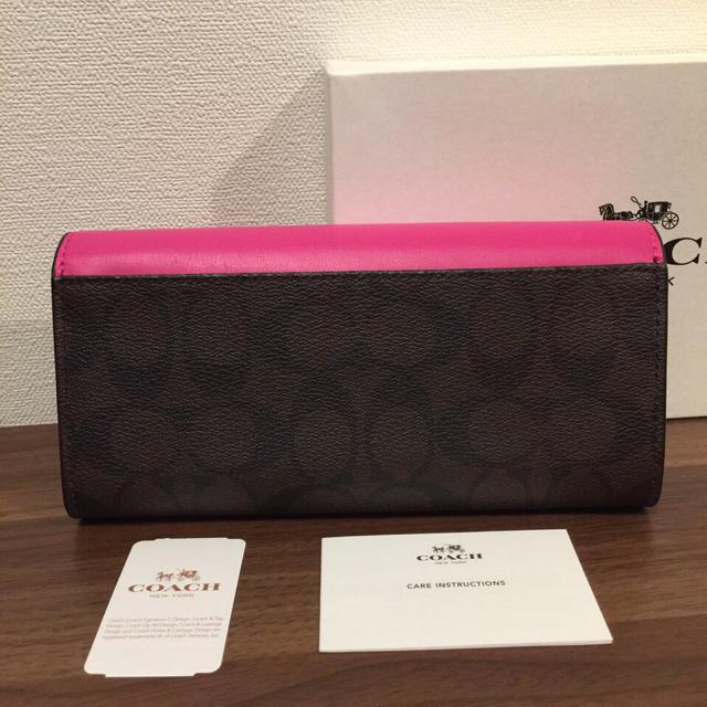 COACH(コーチ)のCOACH コーチ スリムウォレット ピンク 長財布 ブライトフューシャ  レディースのファッション小物(財布)の商品写真