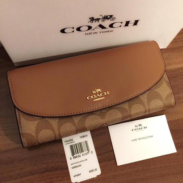 COACH(コーチ)のCOACH コーチ スリムウォレット ブラウン サドル 長財布 レディースのファッション小物(財布)の商品写真