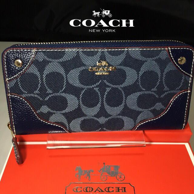 COACH(コーチ)の限定セール❣️新品コーチ長財布F53769デニム×レザー ミッドナイトブルー レディースのファッション小物(財布)の商品写真