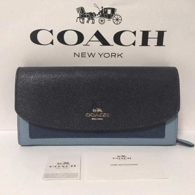 COACH(コーチ)の【新品】COACH★長財布 ブルー×ネイビー レディースのファッション小物(財布)の商品写真