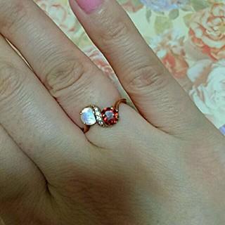 新品 天然石 ムーンストーン ガーネット リング silver925 リング(リング(指輪))