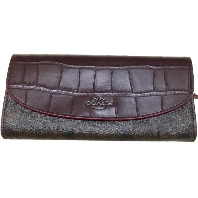 COACH(コーチ)の新品 新作 coach シグネチャー  ブラウン 紫 クロコダイル   レディースのファッション小物(財布)の商品写真