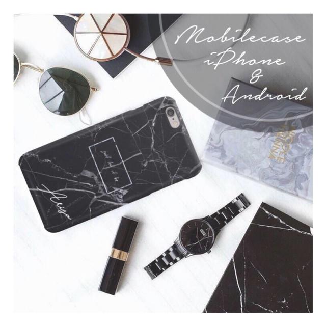 革 アイフォンケース 、 名入れ可能★ブラック大理石柄スマホケース★iPhone以外も対応機種多数あり★の通販 by welina mahalo|ラクマ