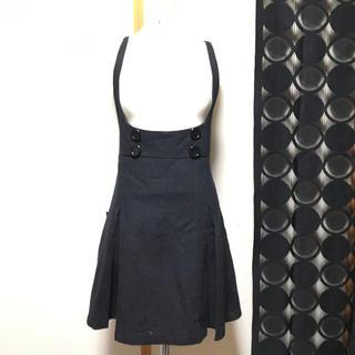 ロキエ(Lochie)の古着屋 レトロ サロペットスカート ダークグレー Mサイズ(ひざ丈スカート)
