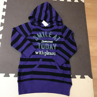 サンカンシオン(3can4on)の3can4on 新品タグつきトレーナー 100サイズ 紫 子供服 フードつき(Tシャツ/カットソー)