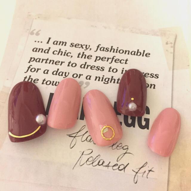 ネイルチップ ピンク×ボルドー ハンドメイドのアクセサリー(ネイルチップ)の商品写真