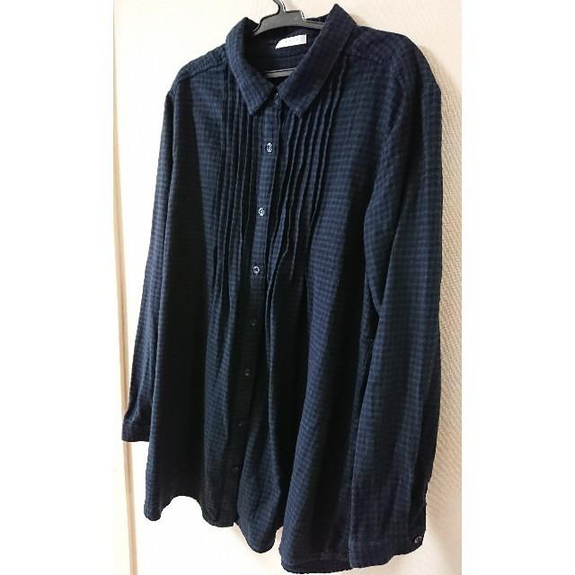 紺×黒チェック ブラウス レディースのトップス(シャツ/ブラウス(長袖/七分))の商品写真