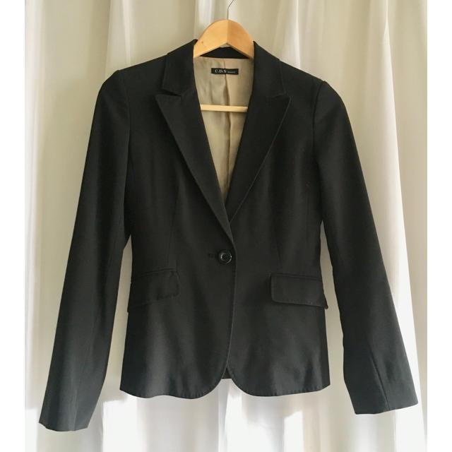 C.D.S BASIC(シーディーエスベーシック)のUSED C.D.S BASIS  ジャケット 黒 7AR 細身 レディースのジャケット/アウター(テーラードジャケット)の商品写真