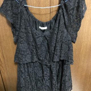 大きいサイズ🍀黒レースレース✨フリフリ系半袖💓(Tシャツ(半袖/袖なし))