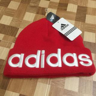 アディダス(adidas)の【送料無料】アディダスニット帽 赤(ニット帽/ビーニー)