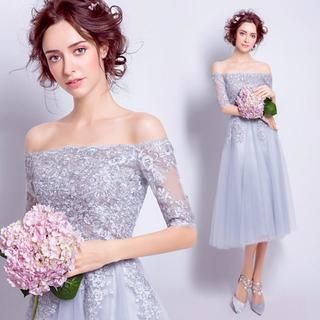 グレーチュールドレス結婚式ミディアムワンピースオフショルダー119(ウェディングドレス)