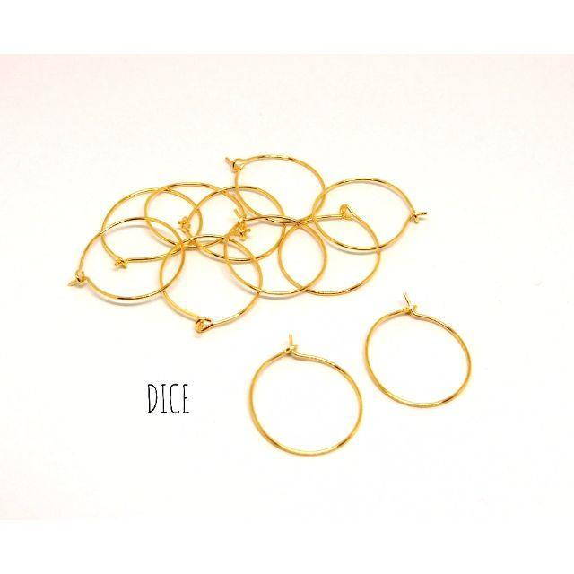 【C81】直径20mm*フープピアス*ゴールド*20個(10ペア) ハンドメイドの素材/材料(各種パーツ)の商品写真