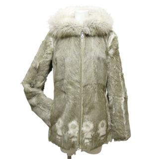 プラダ(PRADA)の新品プラダPRADAFOXファー付フードファーコート(毛皮カーキ40(毛皮/ファーコート)