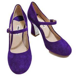 ミュウミュウ(miumiu)の新品ミュウミュウmiu miuスエード ストラップシューズ(靴)紫#35(ハイヒール/パンプス)