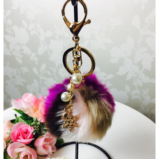・*:.。. ✩送料無料✩ファーバックチャーム キーホルダー.。.:*・ ハンドメイドのファッション小物(バッグチャーム)の商品写真