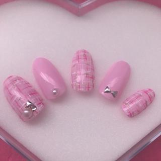 ネイルチップ ジェルネイル 冬ネイル ピンク ツイードネイル パステル