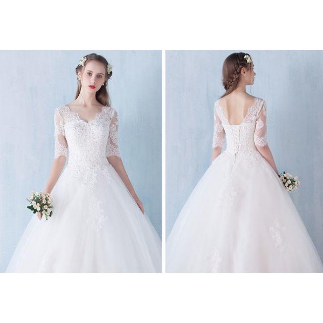 ヒゲレース袖ありウェディングドレスワンピース結婚式ドレス141の通販