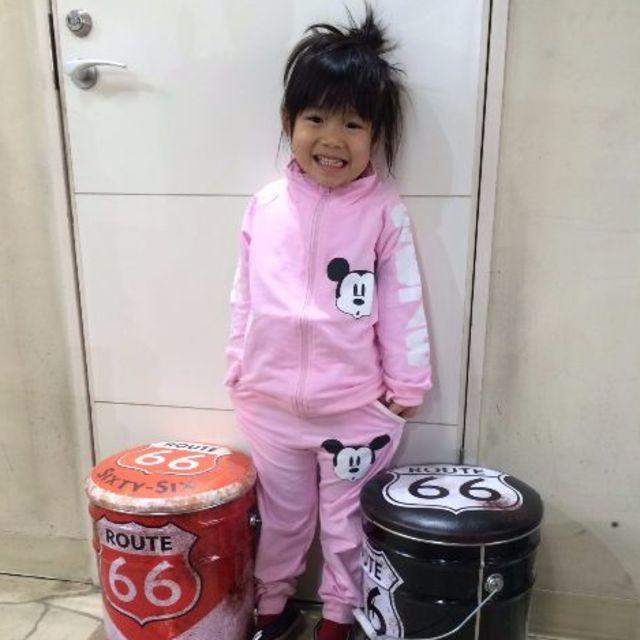 ミッキーセットアップ★2色 ピンクorグレー キッズ/ベビー/マタニティのキッズ服 女の子用(90cm~)(その他)の商品写真