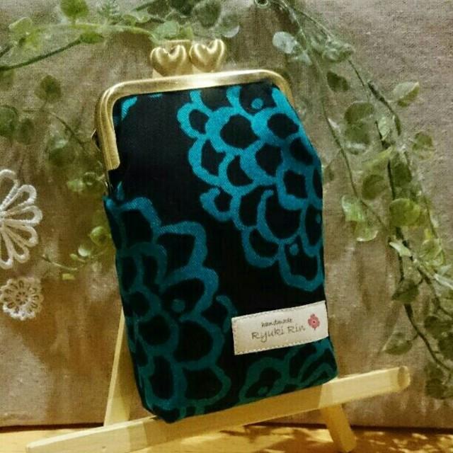 がま口財布(ぷっくりハートげんこ♥北欧ダリア・グリーン) ハンドメイドのファッション小物(財布)の商品写真