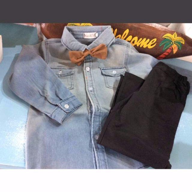 【韓国子供服】セットアップ★デニムジャケット.パンツ 90-130 キッズ/ベビー/マタニティのキッズ服 女の子用(90cm~)(その他)の商品写真
