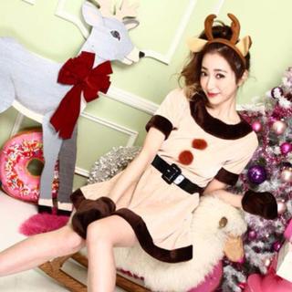 トナカイ コスプレ レディース クリスマス 可愛い 女性 動物 仮装 パーティー(衣装一式)